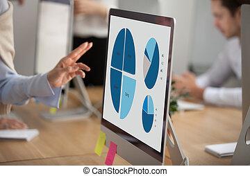 íróasztal, statisztika, monitor, hivatal, feláll, desktop, terv, becsuk