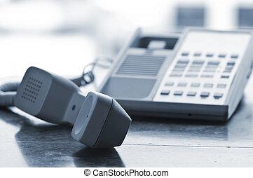 íróasztal, telefon, el, begörbít