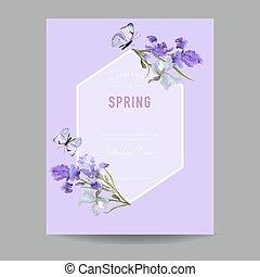 írisz, poszter, bíbor, eredet, keret, köszönés, ábra, meghívás, flowers., vektor, repülő, virágos, virág, template., kártya