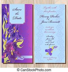 írisz, virág, bíbor, meghívás, ábra, háttér., vektor, esküvő, kártya