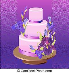 írisz, virág, illustration., bíbor, vektor, esküvő torta, design.