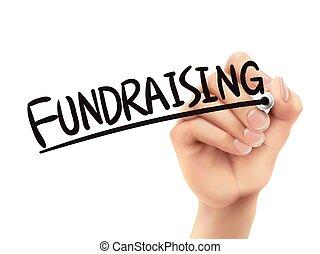 írott, fundraising, kéz