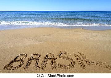 írott, tengerpart, brasil, homokos