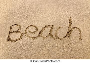 írott, tengerpart homok