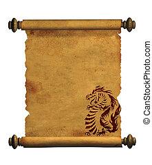 ív, közül, ősi, pergament