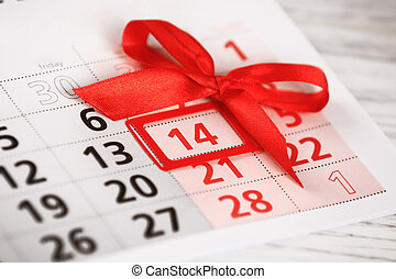 ív, közül, falinaptár, noha, piros, megjelöl, képben látható, 14, február, -, valentines nap