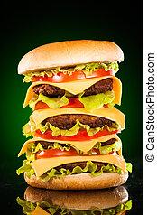 ízletes, étvágygerjesztő, hamburger, zöld, sötéten