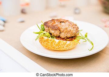 ízletes, hamburger, étvágygerjesztő