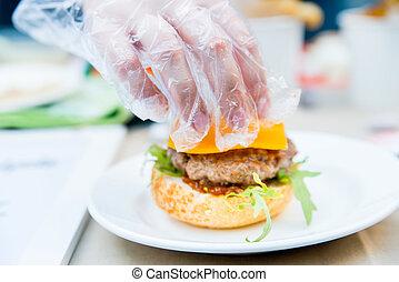 ízletes, hamburger, előkészítő, étvágygerjesztő