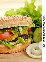 ízletes, hamburger
