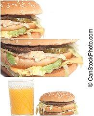 ízletes, nagy, burgers, kollázs