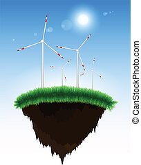 île, éoliennes, herbe, flotter