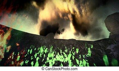 île, éruption volcanique