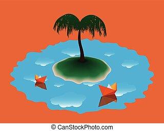 île, arbre, deux, papier, paume, bateau