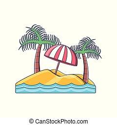 île, arbre, vacances, exotique, plage paume