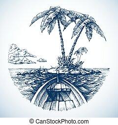 île, arbres, océan, exotique, paume, bateau, vue