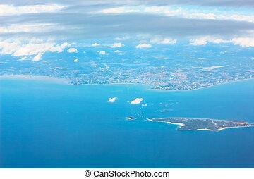 île, avion, vue