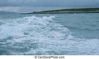 île, barents mer, orageux, vagues