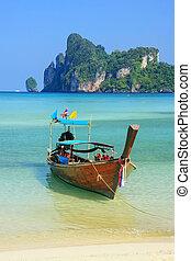 île, bateau, ao, krabi, ancré, longtail, phi, thaïlande, province, loh, dalum, mettre, plage