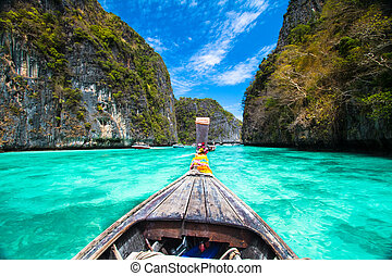 île, bateau, thailand., phi, bois