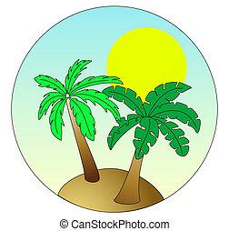île bleue, ciel, paume, fond, soleil