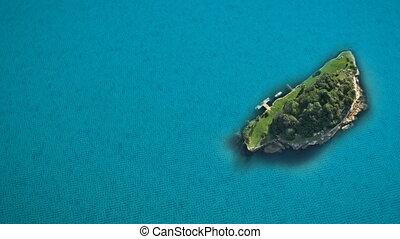 île bleue, mer, océan