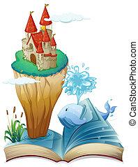 île, château, dauphin, livre