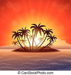 île, coucher soleil, paradis