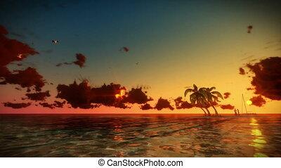 île, couple, yacht