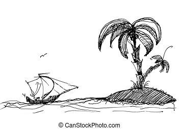 île, croquis, bateau
