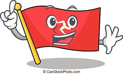 île, doigt, dessin animé, drapeau, homme