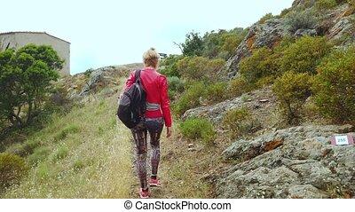 île, elba, trekking, femme
