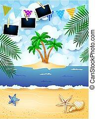île, exotique, eps10, photo, feston, illustration, fond, vecteur, frames., été