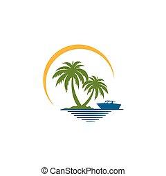 île, exotique, paume, voilier, mer