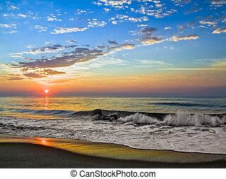île, fenwick, levers de soleil