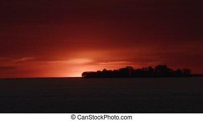 île, finlande, coucher soleil, golfe, pendant