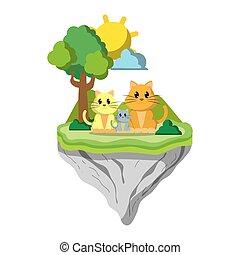 île, flotteur, famille animale, chat