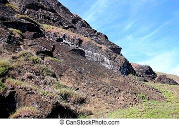 île, géant, carrière, paques, moai