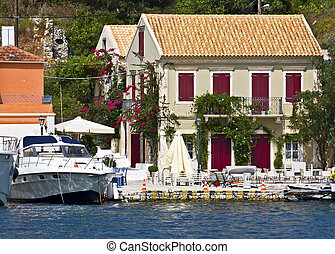 île, grèce, traditionnel, 'fiscardo', pêchant village, kefalonia