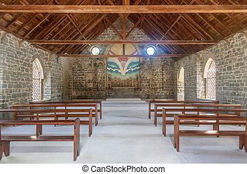 île, historique, vieux, vide, église