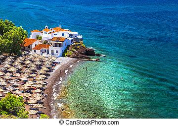 île, hydre, plages, greece-vlychos, beau