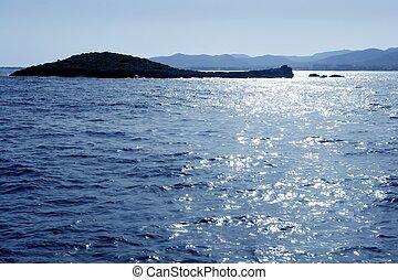 île ibiza, bleu, méditerranéen, marine
