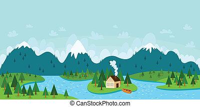 île, illustration, rivière, forêt, vecteur, maison bateau, paysage, montagnes