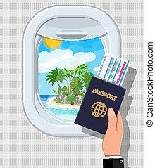 île, intérieur, fenêtre, avion