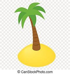 île, isométrique, 3d, icône