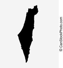 île, israël, silhouette, carte