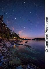 île, long, rivage, étoiles
