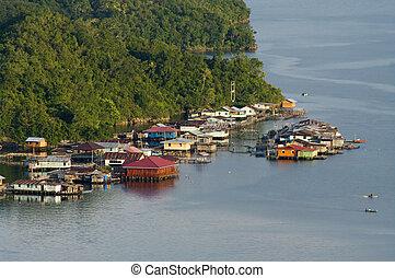 île, maisons, lac, sentani