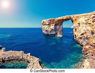 île, malte, fenêtre, endroit, emplacement, gozo, azur,...