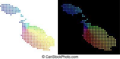 île, malte, spectre, point, carte
